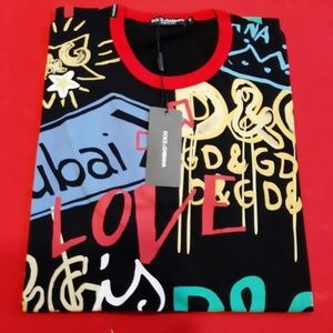 DOLCE GABBANA MENS COLORED PRINTED CASUAL T-SHIRT